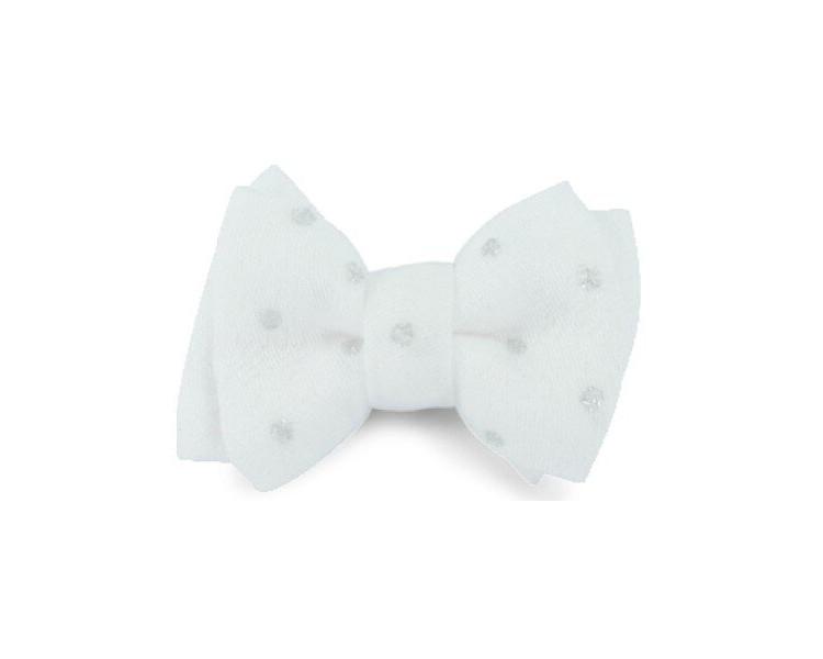 Mini noeud double - Blanc pois argent