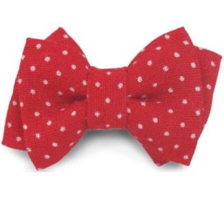 Mini noeud double - Rouge pois blancs