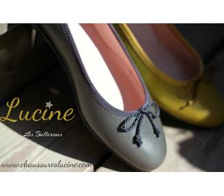 Ballerine cordon réglable T29  à 35 - cuir GRIS/taupe