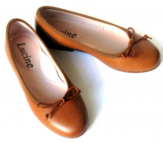 Ballerine cordon réglable - cuir CAMEL