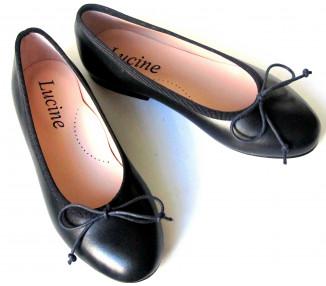 Ballerine cordon réglable - cuir BLEU MARINE