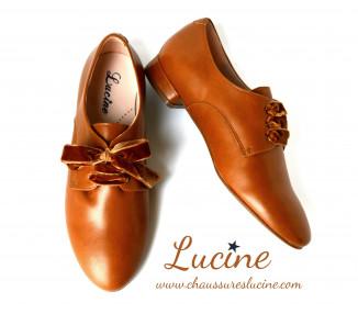 Léontine - haute talonnette 2cm- cuir CAMEL