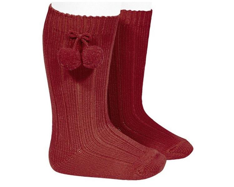 BORDEAUX/rouge foncé - Chaussettes hautes à POMPOMS