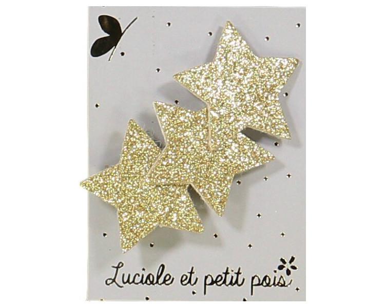 Barrette 3 étoiles - Glitter or