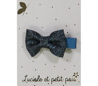 Barrette Mini Papillon - pince CROCODILE Bleu