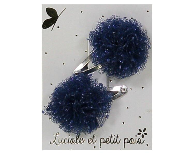 Mini pompons tulle bleu nuit pailleté