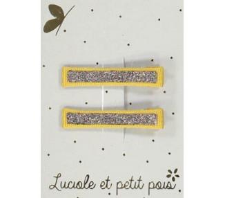 Barrettes pinces CROCO – Moutarde (paires)