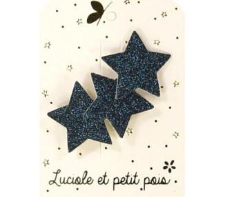 Barrette 3 étoiles - Glitter marine