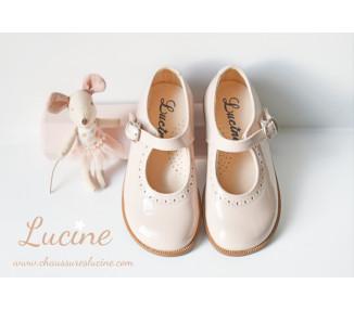 Louise RESISTANTES -cuir vernis NUDE/rose pâle
