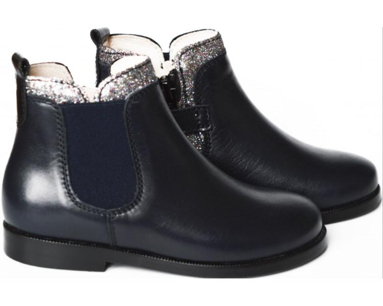 Boots RESISTANTES- cuir BLEU MARINE/paillettes