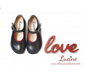 Louise RESISTANTES - cuir MARINE/ROUGE