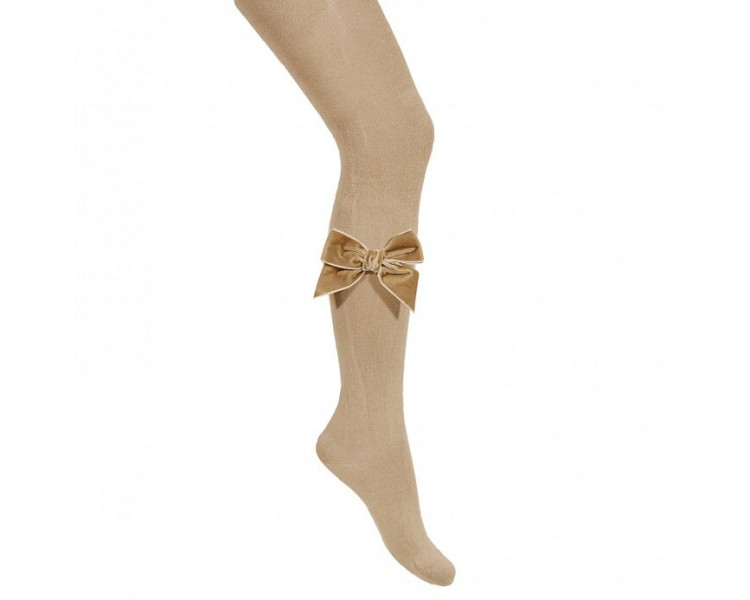 COLLANTS noeud VELOURS - BEIGE