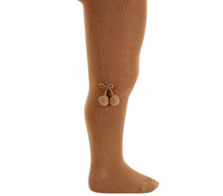 COLLANTS lisses POMPONS - COGNAC