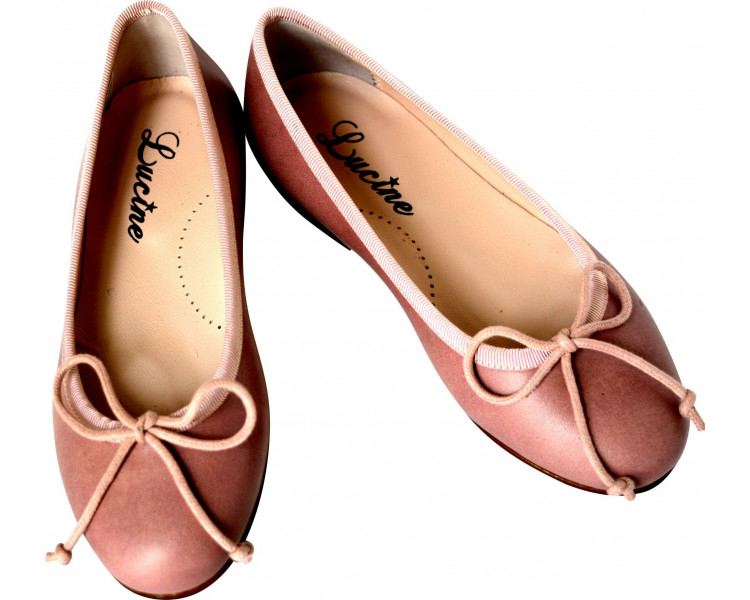 Ballerine cordon réglable - cuir VIEUX ROSE