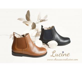 Boots MIXTES RESISTANTES- cuir BLEU MARINE
