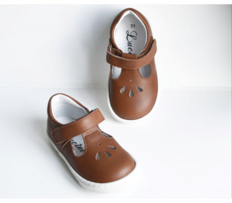 Aubin SOUPLES Velcro - cuir camel t18-26