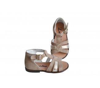 Nu-pieds SOUPLES - Clarence spéciales pieds FINS/très FINS - Beige/or