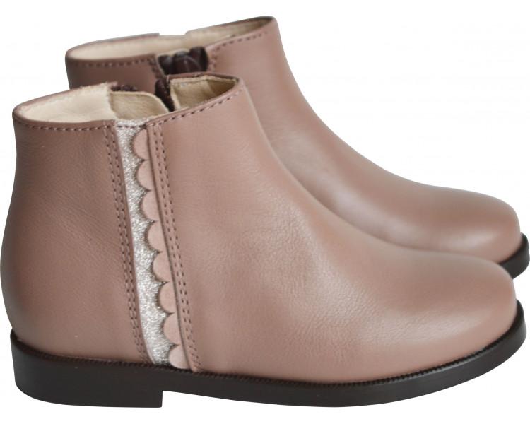 Boots bande pailletée - cuir Rose