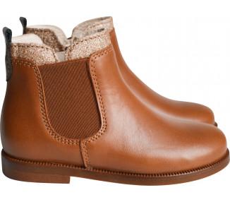 Boots RESISTANTES- cuir camel col paillettes