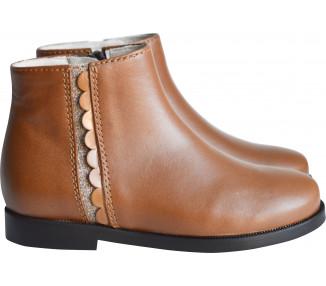Boots RESISTANTES- cuir camel/bande pailletée