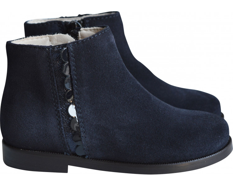 Boots RESISTANTES- nubuck BLEU MARINE/bande pailletée
