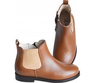 Boots RESISTANTES- cuir CAMEL/élastique OR