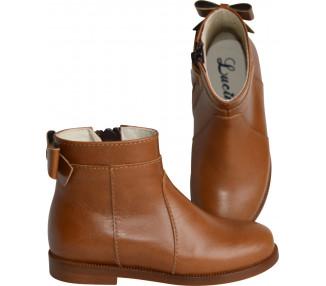 Boots RESISTANTES- cuir camel nœud arrière