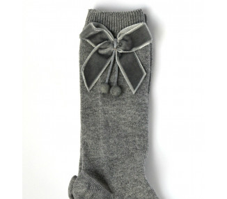 GRIS - Chaussettes hautes à NOEUDS